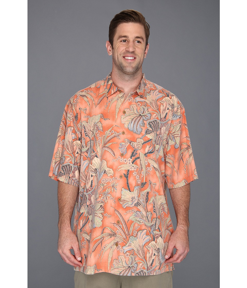 Tommy Bahama Big & Tall Big Tall Botanica Bay Camp Shirt Mens Short Sleeve Button Up (Orange)