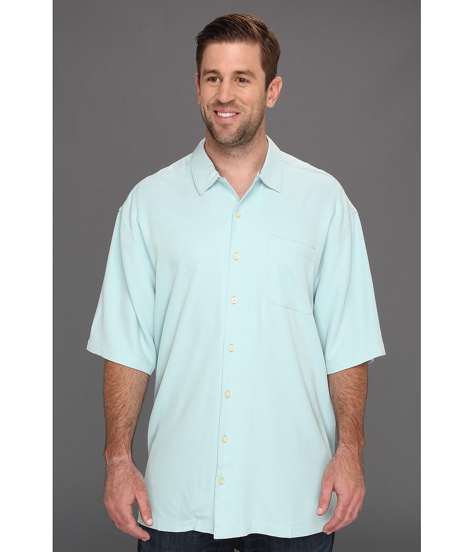 Tommy Bahama Big & Tall Big Tall Catalina Twill Camp Shirt Mens Short Sleeve Button Up (Blue)