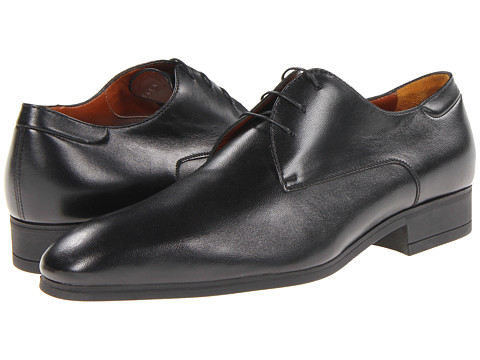 a. testoni - Plain Toe Lace Up Oxford (Calf Nero) Men's Plain Toe Shoes