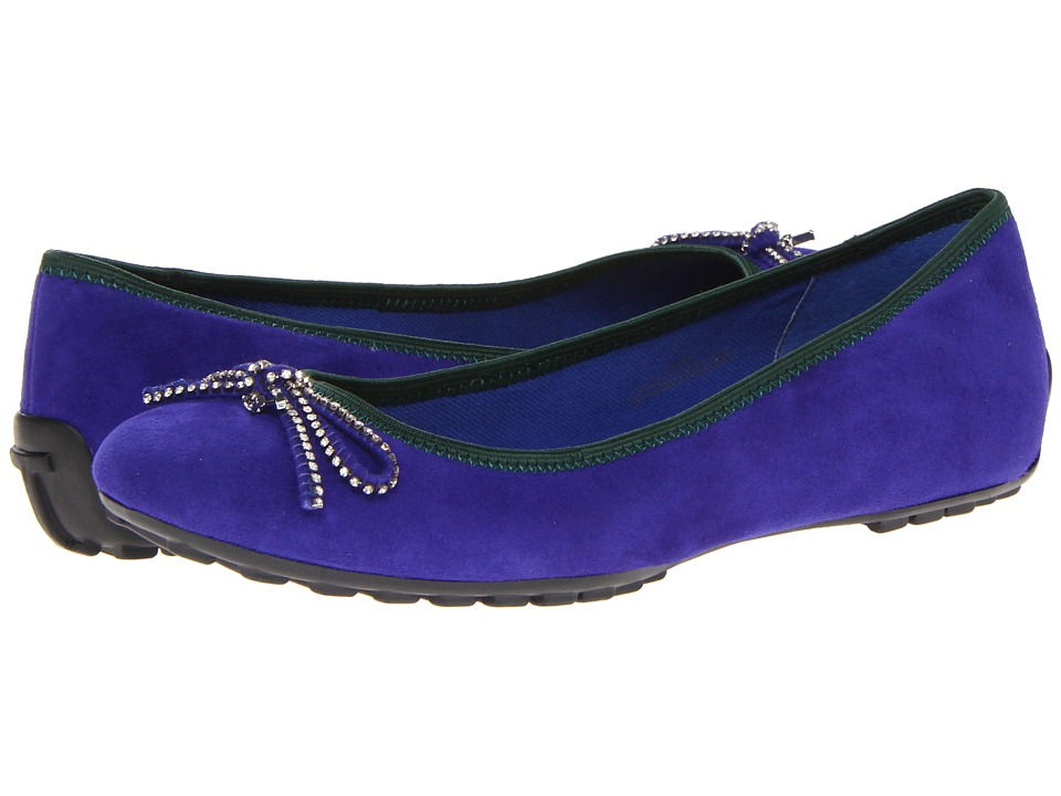 Isaac Mizrahi New York - Faun 2 (Blue Suede/Green Trim) Women's Slip on Shoes