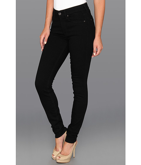 7 For All Mankind - The Skinny w/ Squiggle Second Skin Slim Illusion Black (Elasticity Black) Women