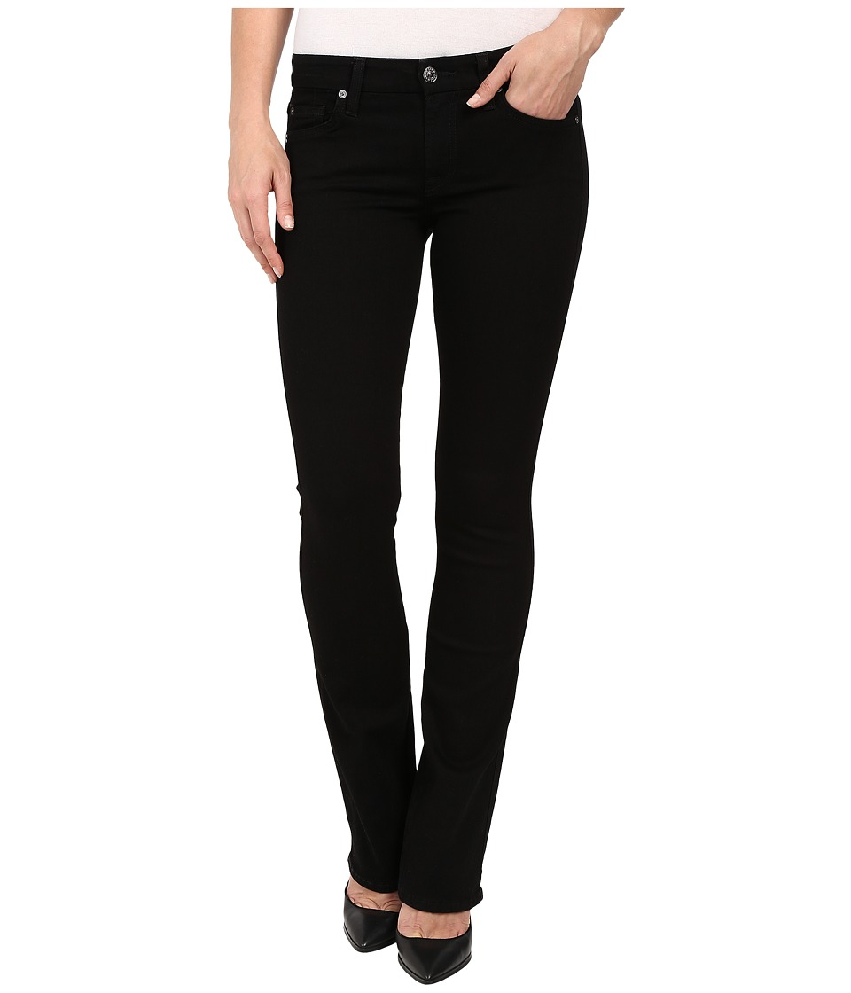 7 For All Mankind - The Skinny Bootcut w/ Squiggle Second Skin Slim Illusion Black (Elasticity Black) Women's Jeans