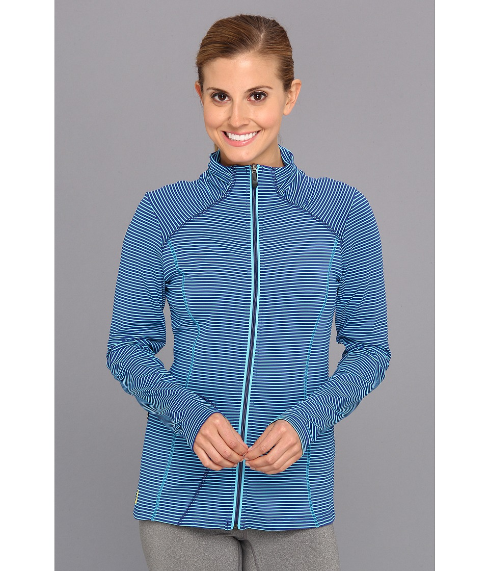 Lole - Essential Full Zip Jacket (Solidate Blue Stripe) Women