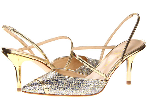 Shop Ivanka Trump online and buy Ivanka Trump Nisha Gold-Silver Shoes - Ivanka Trump - Nisha (Gold/Silver) - Footwear: These gorgeous sandals are sure to get you noticed in all the right ways! ; Easy slip-on wear. ; Suede or leather upper. ; Sleek strap detail. ; Man-made lining. ; Lightly cushioned man-made footbed. ; Wrapped heel. ; Man-made sole. ; Imported. Measurements: ; Heel Height: 3 in ; Weight: 6 oz ; Product measurements were taken using size 8, width M. Please note that measurements may vary by size.