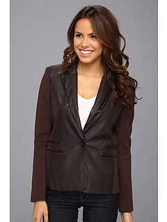 SALE! $106.99 - Save $88 on MICHAEL Michael Kors Ponte Faux Leather Blazer (Chocolate) Apparel - 45.13% OFF $195.00
