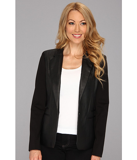 MICHAEL Michael Kors - Ponte Faux Leather Blazer (Black) Women's Jacket