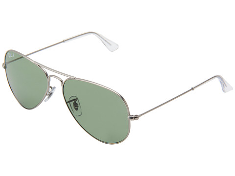 Ray-Ban - RB3025 Aviator Polarized 58mm (Matte Silver/Green) Polarized Fashion Sunglasses