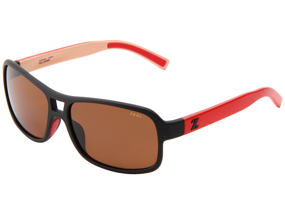 Zeal Optics - Tofino (Caf Black + Red w/Cooper Polarized Lens) Sport Sunglasses