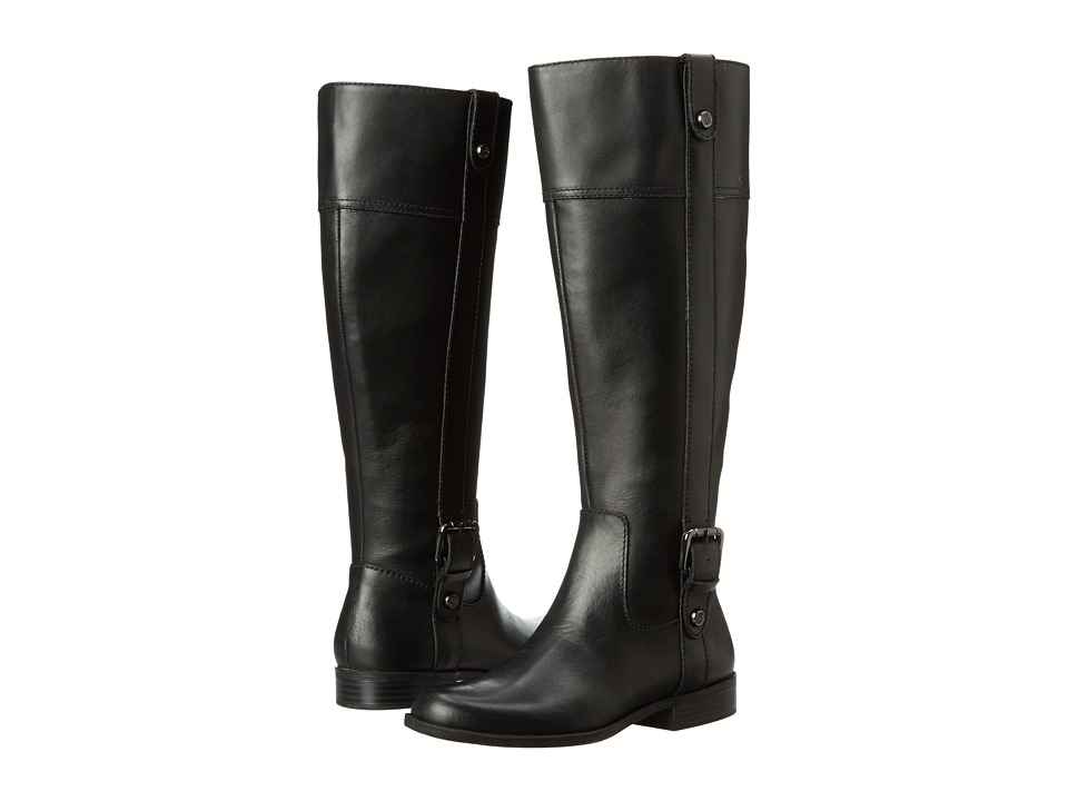 Anne Klein - Cijiw - Wide Calf (Black Leather) Women's Boots