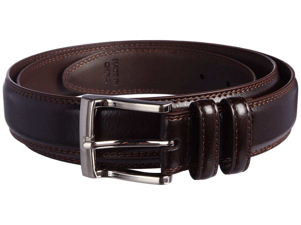 Florsheim Big and Tall Pebble Grain Leather Belt (Brown) Men