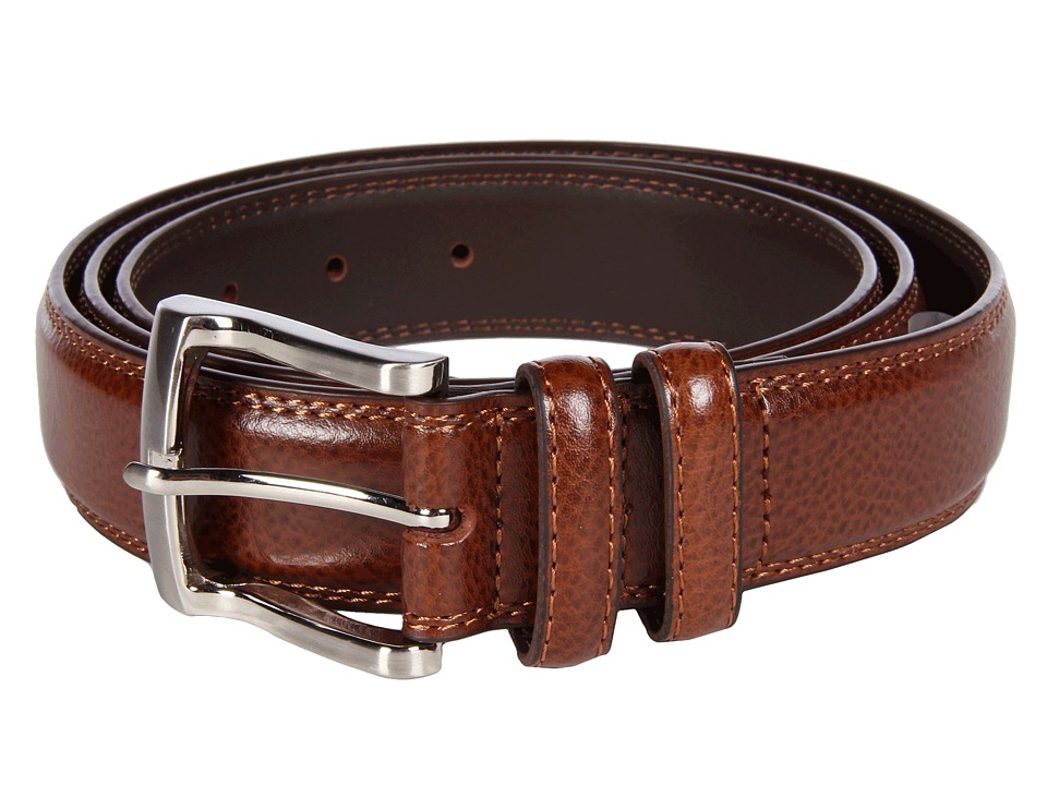 Florsheim Big and Tall Pebble Grain Leather Belt (Cognac) Men