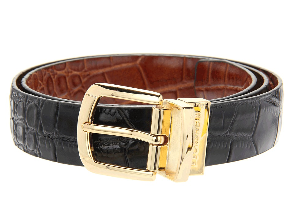Florsheim Reversible Croco Embossed Leather Belt (Black/Cognac Reversible) Men