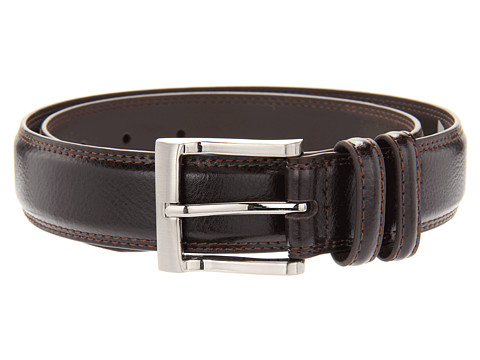 Florsheim - Pebble Grain 32mm Leather Belt (Brown) Men