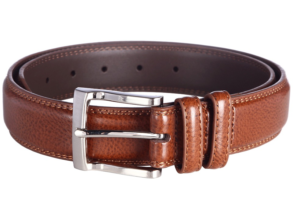 Florsheim Pebble Grain 32mm Leather Belt (Cognac) Men