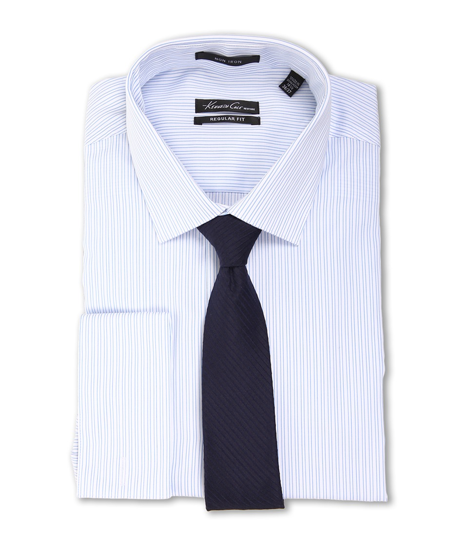 Kenneth Cole New York - Non-Iron Regular Fit Stripe French Cuff Dress Shirt (Blue Ice) Men's Long Sleeve Button Up