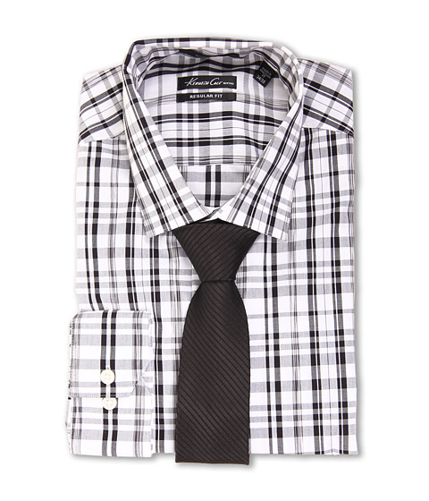 Kenneth Cole New York - Non-Iron Regular Fit Plaid Dress Shirt (Winter White) Men's Long Sleeve Button Up