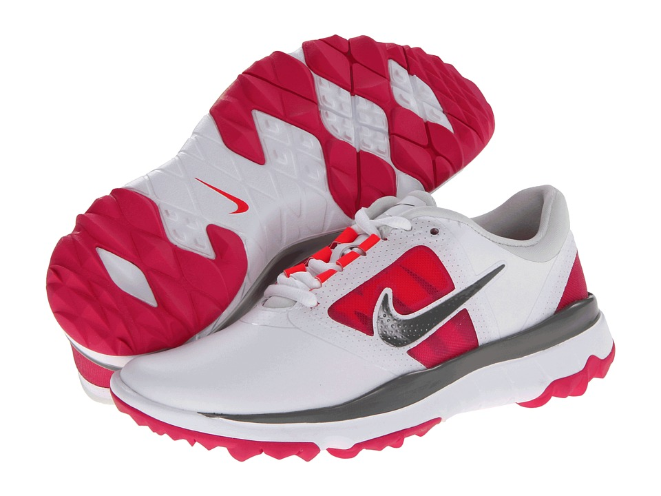 Nike Golf - FI Impact (White/Medium Base Grey/Vivid Pink) Women's Golf Shoes