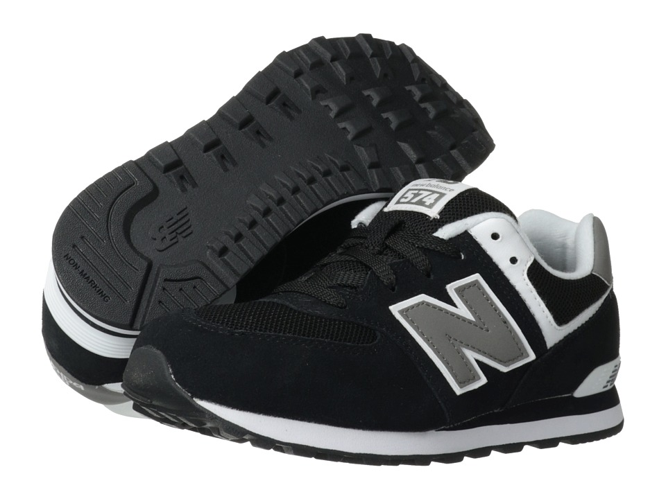 New Balance Kids - 574 (Big Kid) (Black/White) Kids Shoes