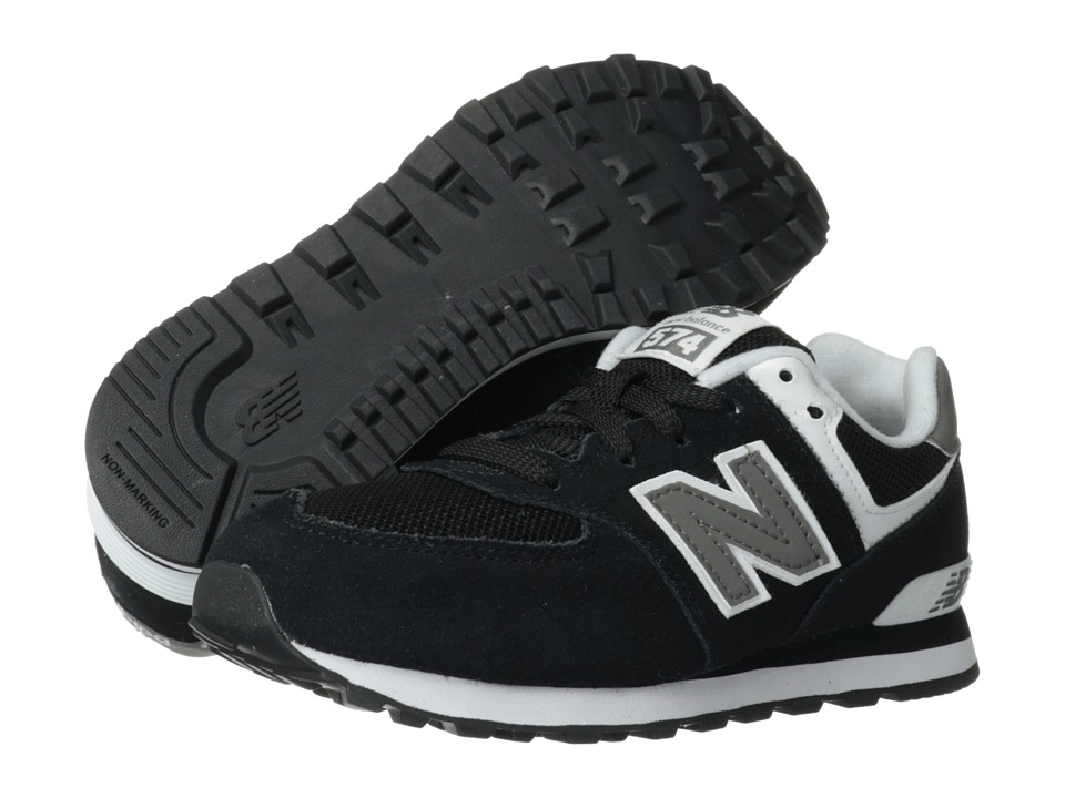 New Balance Kids - 574 (Little Kid) (Black/White) Kids Shoes