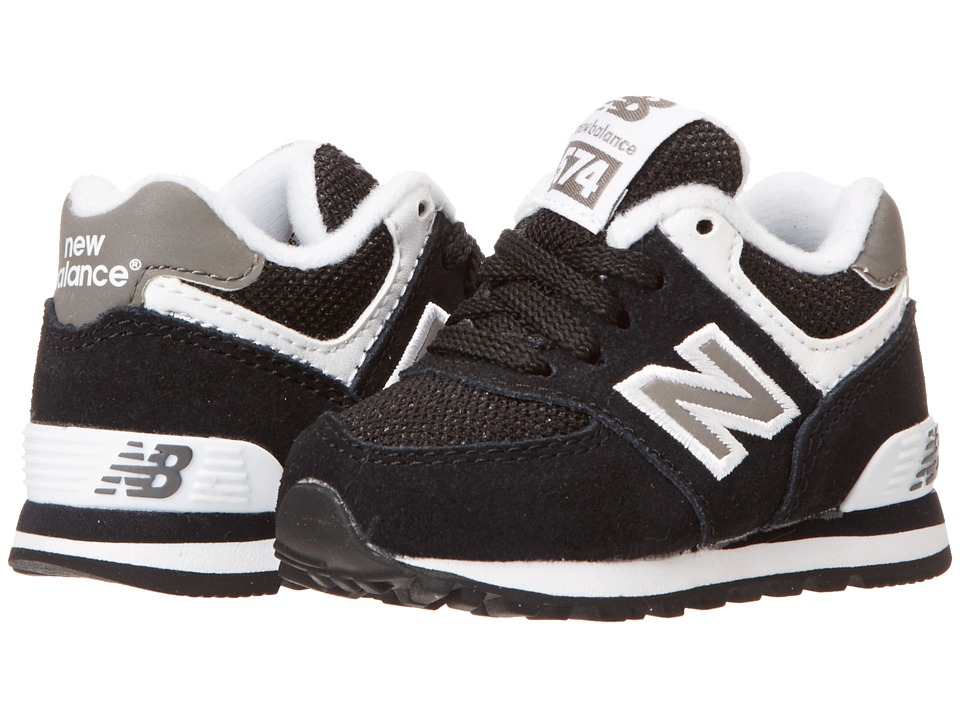 New Balance Kids - KL574 (Infant/Toddler) (Black/White1) Kids Shoes