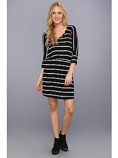 SALE! $39.99 - Save $88 on Splendid Drapey Dolman Dress (Black White) Apparel - 68.76% OFF $128.00