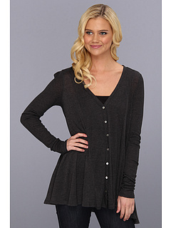 SALE! $44.99 - Save $79 on Three Dots Sheer Jersey w Silk Chiffon L S Seamed Cardy (Charcoal Black) Apparel - 63.72% OFF $124.00