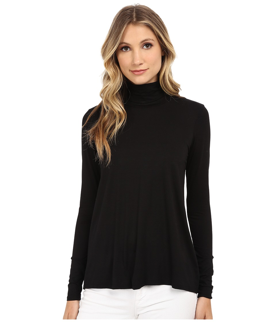 Three Dots - L/S Relaxed High Low Turtleneck (Black) Women's Long Sleeve Pullover
