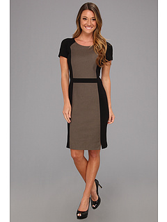 SALE! $41.99 - Save $97 on DKNYC Short Sleeve Dress w Ponte Inserts (Sable) Apparel - 69.79% OFF $139.00