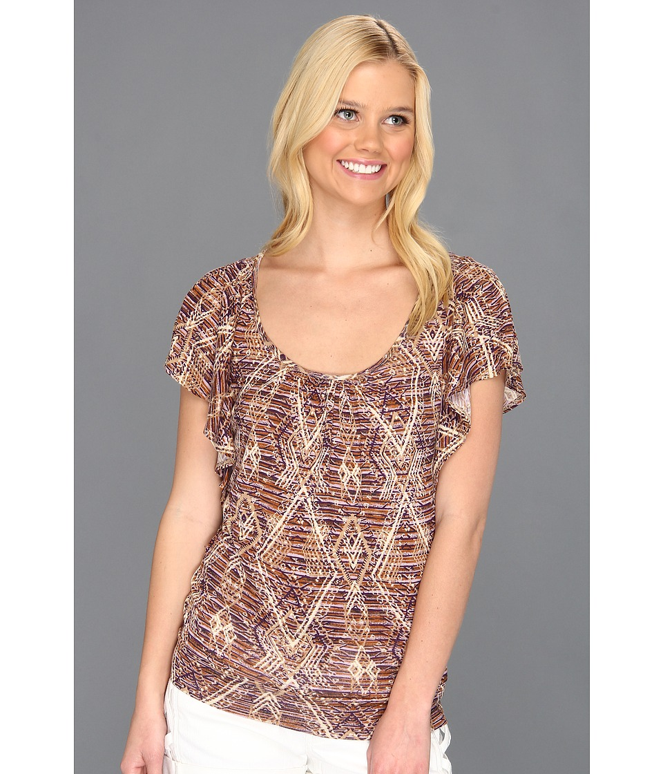 Lucky Brand Aztec Ruffle Top Womens Short Sleeve Pullover (Purple)