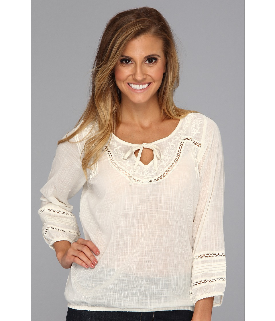Lucky Brand Corabelle Embroidered Top Womens Long Sleeve Pullover (White)