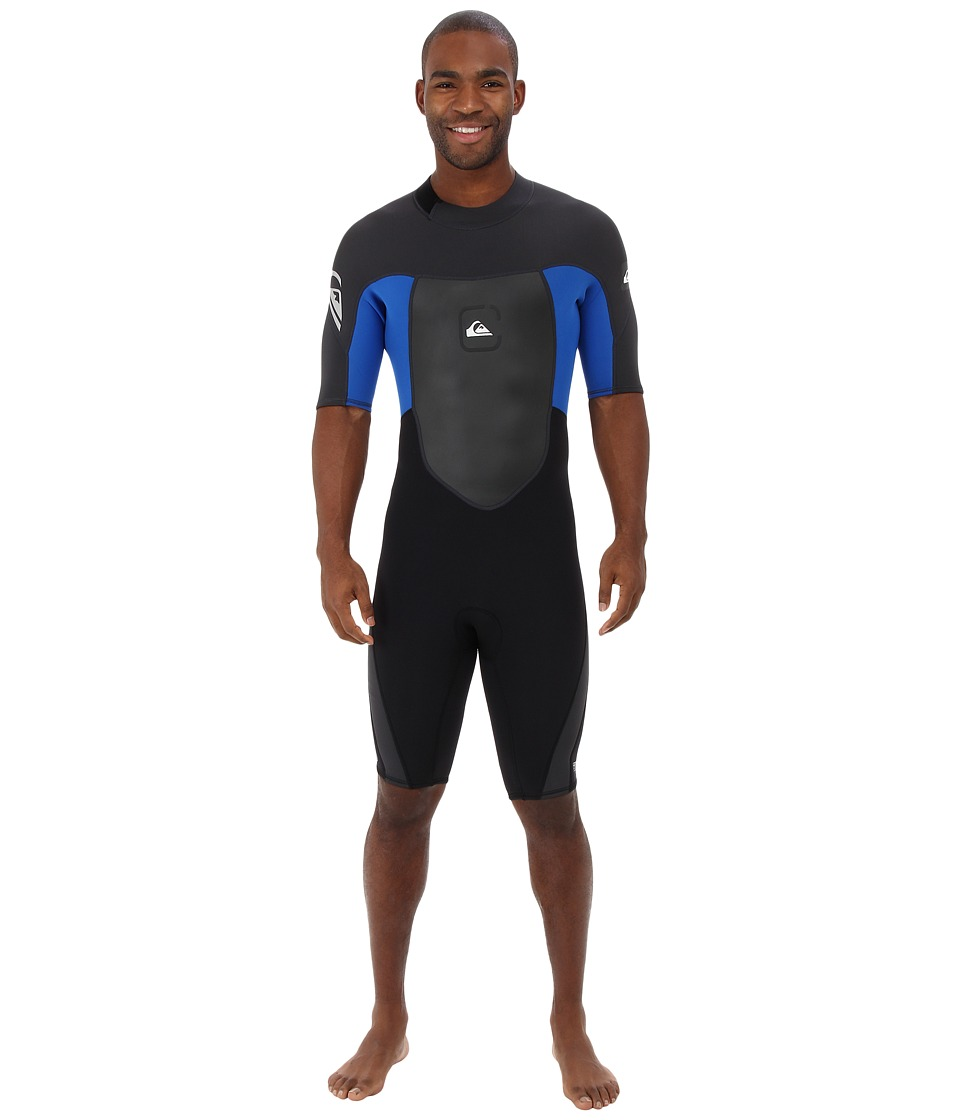 Quiksilver - 2/2MM Syncro S/S Back Zip Wetsuit (Black/Graphite/Cyan) Men's Wetsuits One Piece