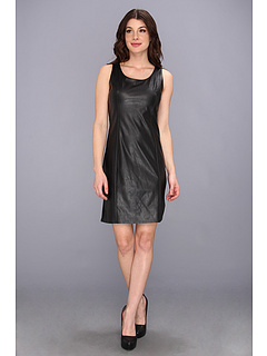 SALE! $46.99 - Save $87 on Calvin Klein MJ S L Dress w Leather Front (Black) Apparel - 64.93% OFF $134.00