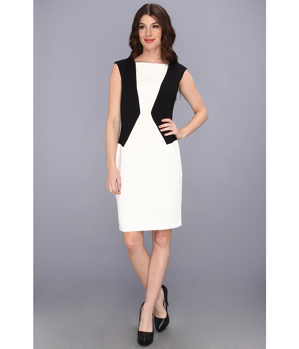 Calvin Klein Cap Sleeve Colorblocked Dress Womens Dress (Black)