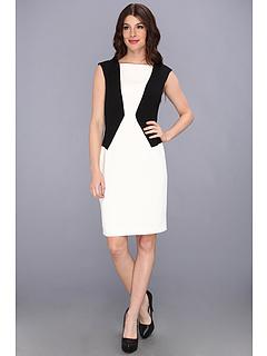 SALE! $36.3 - Save $98 on Calvin Klein Cap Sleeve Colorblocked Dress (Eggshell Black) Apparel - 72.91% OFF $134.00