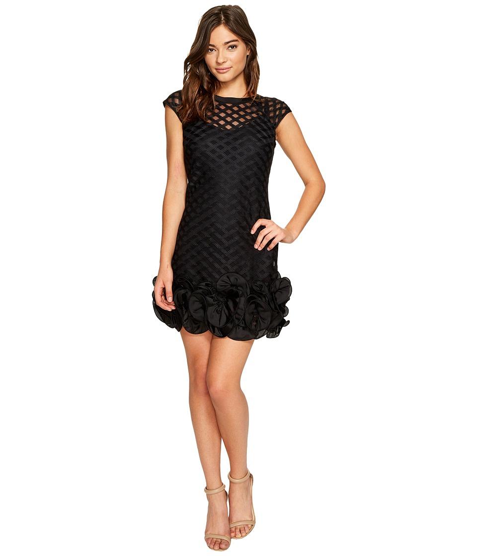Jessica Simpson S/S Lace Dress w/ Ruffle Hem (Black) Women