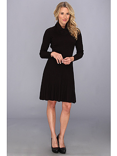 SALE! $41.99 - Save $92 on Calvin Klein L S Sweater Dress w Full Skirt and Cowl Neck (Black) Apparel - 68.66% OFF $134.00
