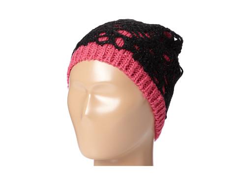 Betsey Johnson - Lacey Knit Skull Cap (Fuchsia) Caps