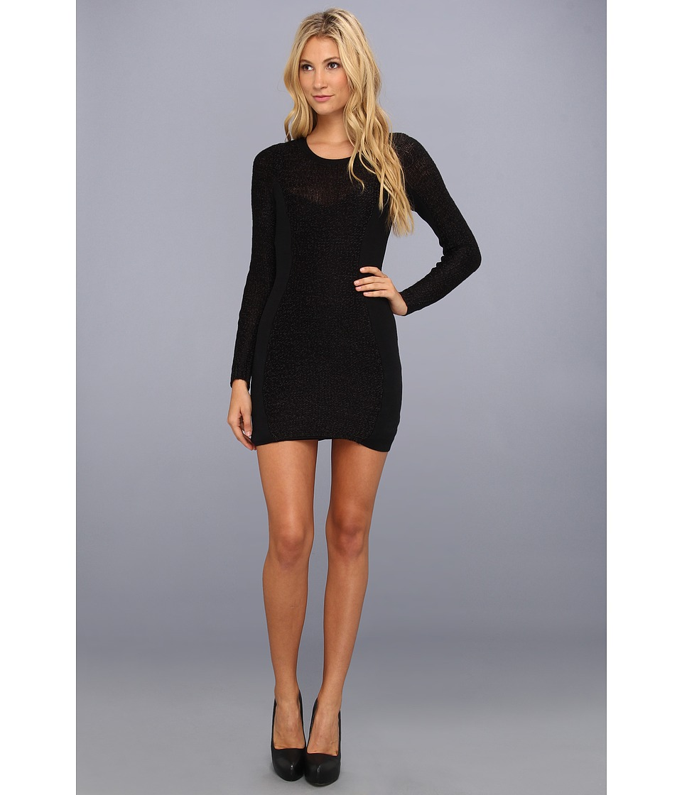 BCBGeneration L/S Round Neck Sweater Dress Womens Dress (Black)