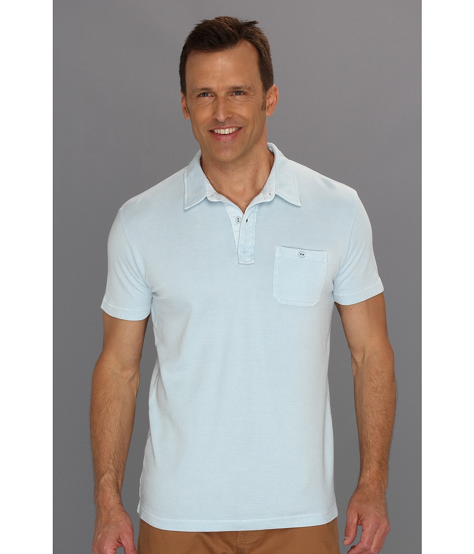 Lucky Brand One Pocket Polo Mens Short Sleeve Pullover (Blue)