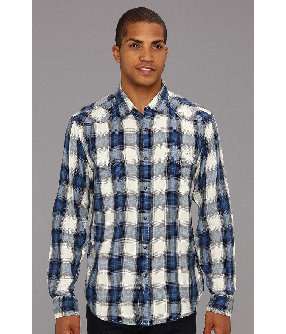 Lucky Brand Spearhead Plaid Western Mens Long Sleeve Button Up (Navy)