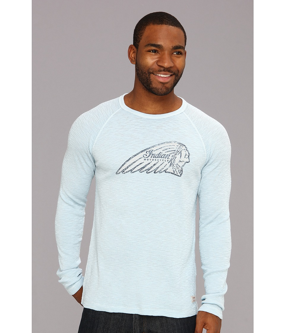 Lucky Brand Indian Stamp Thermal Mens Long Sleeve Pullover (Blue)