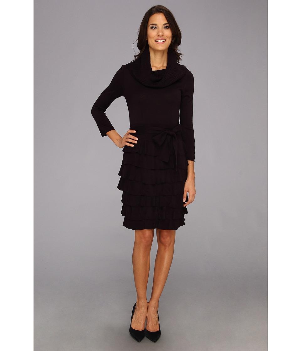 Jessica Howard Cowl Neck w/ Shutter Pleat Knit Skirt Womens Dress (Purple)