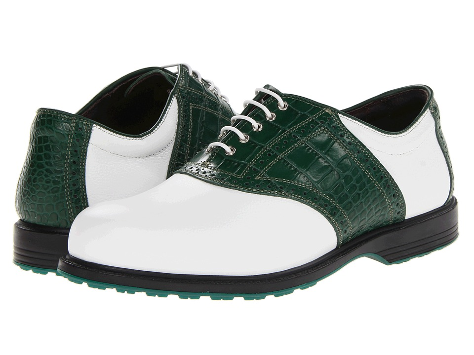 Allen-Edmonds - Muirfield Village (White Grain Leather/Green Croc Print) Men's Golf Shoes