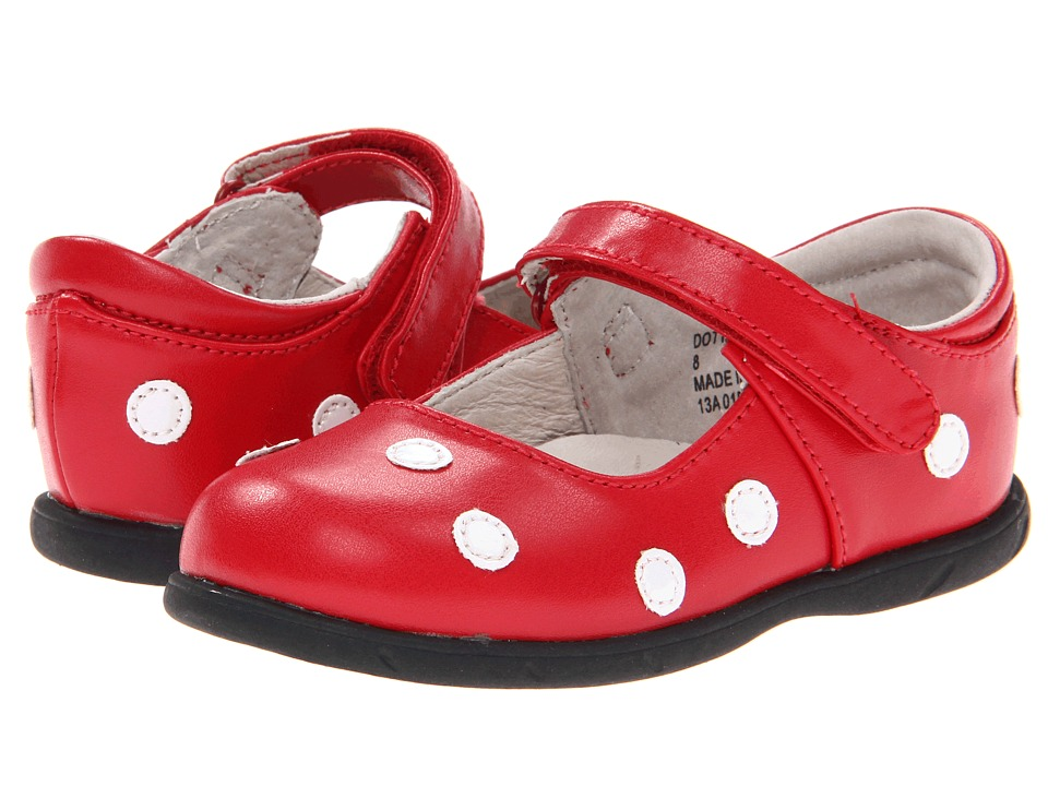 FootMates - Dottie (Infant/Toddler) (Red/White) Girls Shoes