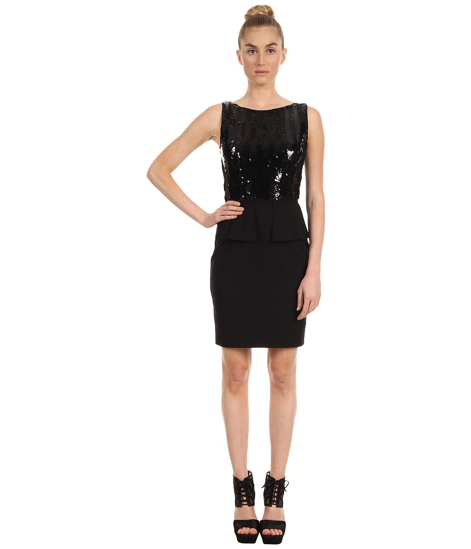 Elie Tahari - Jayden Sequin Peplum Dress (Black) Women's Dress
