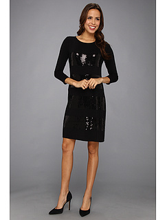 SALE! $81.99 - Save $66 on Tommy Bahama Sequined Knit Three Quarter Sleeve Dress (Black) Apparel - 44.60% OFF $148.00