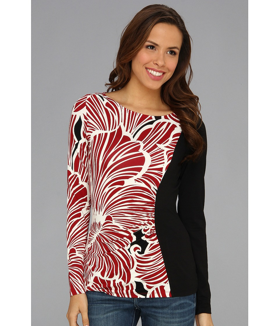 Tommy Bahama Moku Blooms Long Sleeve Top Womens Long Sleeve Pullover (Red)