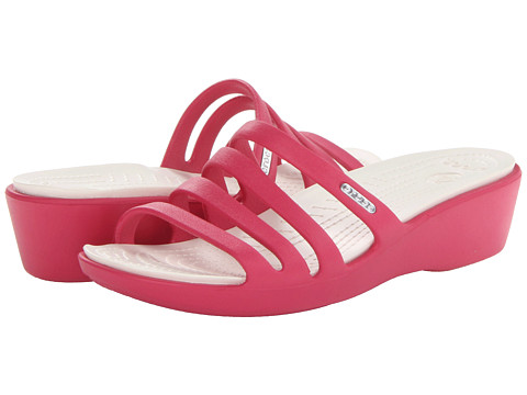 Crocs - Rhonda Wedge Sandal (Raspberry/Oyster) Women's Sandals