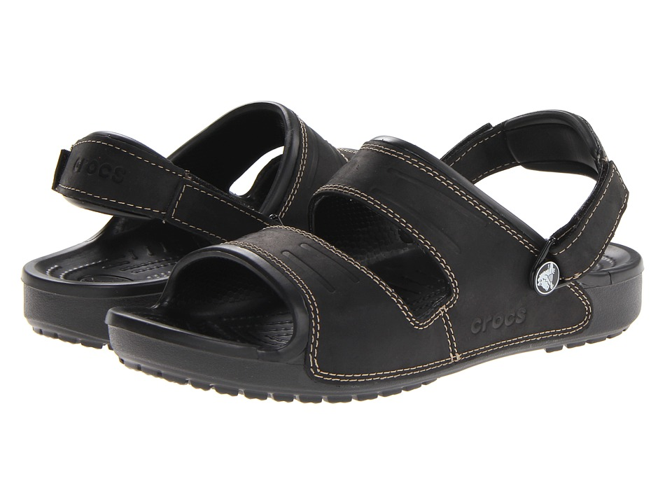 Crocs - Yukon Two Strap Sandal (Black/Black) Men's Sandals