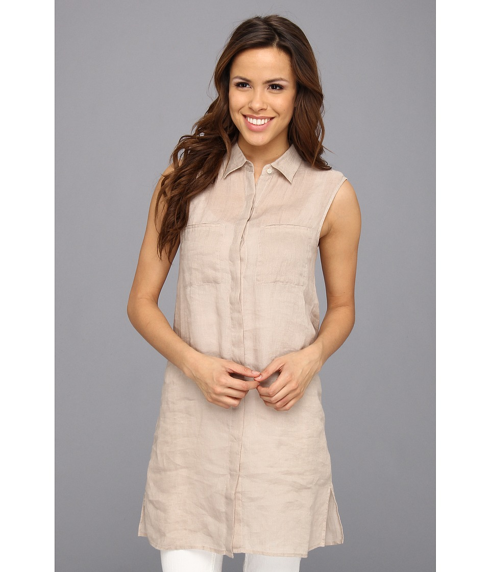 Tommy Bahama Lani Linen Long Tunic Womens Blouse (Beige)